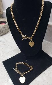 Jewelry - Gold over sterling silver toggle clasp w heart set